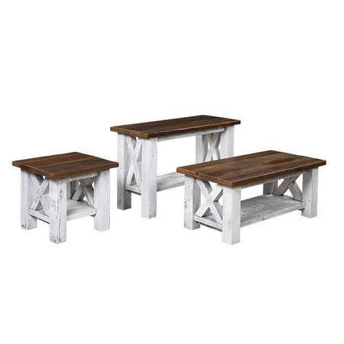 Margate Reclaimed Barn Wood Set- Sofa Table, Coffee Table, & End Table