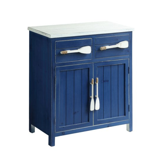 Cape May Azure Blue and White Paddle Cabinet by Crestview