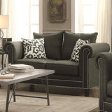 Emerson Transitional Rolled Arm Loveseat with Pewter Nailheads