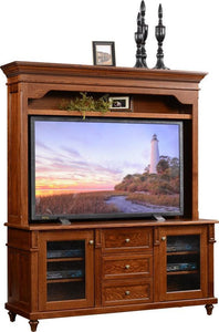 Amish Bridgeport Plasma TV Stand with Hutch Top