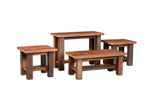 Almanzo Reclaimed Barn Wood Table Set- Sofa, Coffee, & 2 End Tables