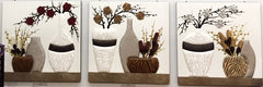 HANDCRAFTED LEATHER ANIMAL PRINT ARTWORK VASES