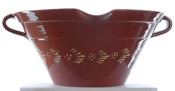 Large terracotta serving/mixing bowl with pouring lip HAND THROWN AND BEAUTIFUL