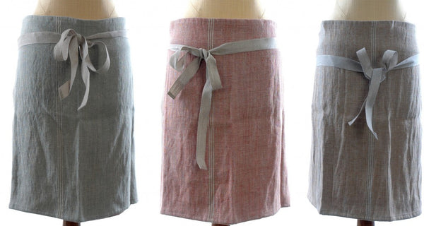 French Linen Short Cocktail Waist Apron