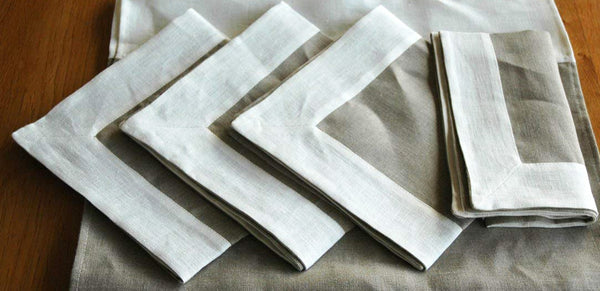 4 pure linen table napkins with white trim