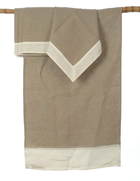 Natural Lithuanian Linen Table Runner with 4 Matching Napkins