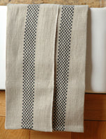 Pure French linen tea towel with black checked detail