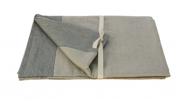 French Linen Tablecloth with Black Ticking Detail 170x275cm