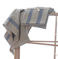 Pure linen tea towels with blue check stripe detail