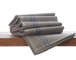 Pure French linen tea towel with blue stripe