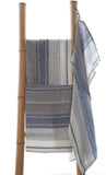 Linen grey and blue striped tea towel