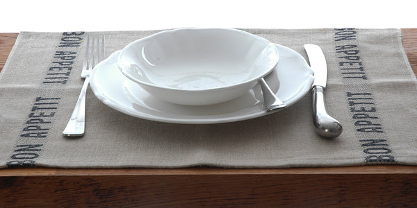 Linen place-mats with bon appetite lettering in white or black