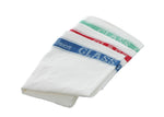 3 Large Linen/Cotton Union Tea Towels with Green, Red and Blue Detail 75x50cm