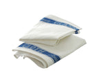 Set of 3 Large Linen/Cotton Union Tea Towels with Blue Detail 75x50cm