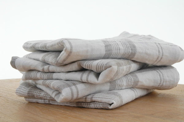 Pure Linen Tea Towels in Flax and White Check 70x50cm