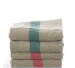 Pure linen tea towels with stripe detail in rosa or aqua