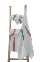 Pure French linen tea towel with aqua or rosa stripe detail