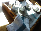 Pure White Linen Tea Towel With Aqua or Rosa Stripe detail
