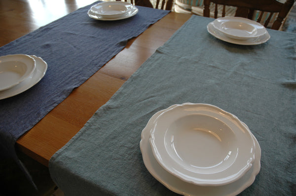 Denim Styled Pure Linen Table Runners 50x150cm in green or blue