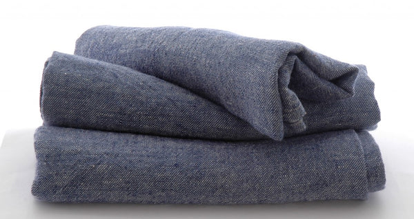 3 large Pure Linen Tea Towels in Denim Blue 80x50cm