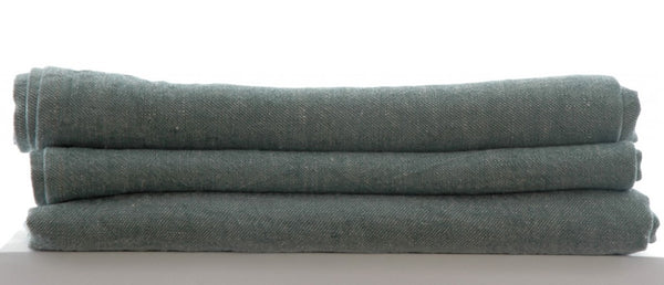 large Pure Linen Tea Towels in Denim Green 80x50cm