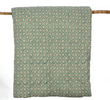 Duck egg green hand block printed quilt in king size