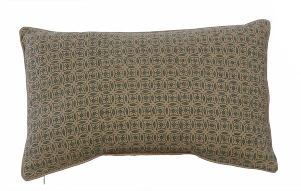 Potager Collection Cotton Cushion in Duck Egg Rings 30x50