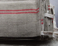 large Pure Linen Tea Towels with Red Stripe Detail 72x50cm