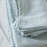 2 Ice Blue Linen Waffle Guest Hand Towels Prewashed