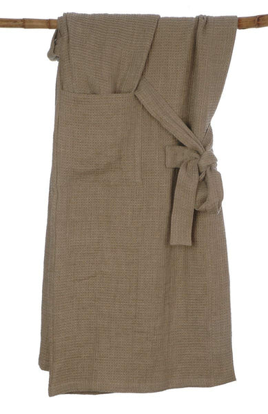 Quality Pure Linen Waffle Bath Robe with 2 Pockets and Belt