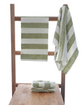 Olive Green Pure Linen Guest Hand Towels in Pack of 2 47x65cm