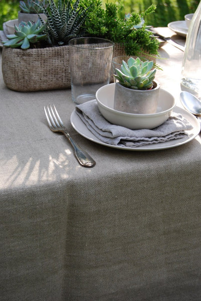 Top Quality Stonewashed Heavyweight Linen Tablecloth in French County Weave
