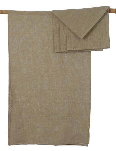 Country Style Natural Linen Table Runner with 4 Matching Napkins