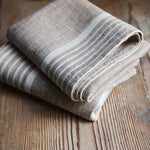 2 Pure Linen Guest Hand Towels in Provence Beige 47x70cm