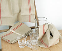 Pure French linen tea towel with red stripe