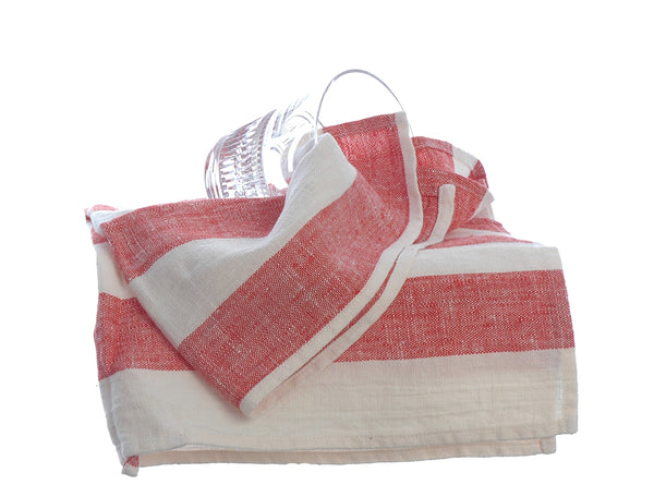 Red and White Linen Tea Towel Pre-washed with Useful Hanging Loop