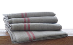 Pure red French linen tea towels large