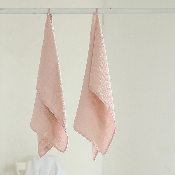 2 Rosa Pink Linen Waffle Guest Hand Towels Prewashed