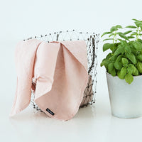 2 Stone Washed Linen Tea Towels in Rosa Pink