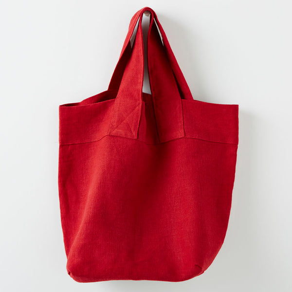 Extra Strong Travel Shoulder Bags in Heavy Weight Linen in red