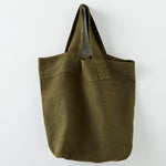 Strong large pure linen travel bag in green