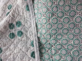 Sea Green hand block printed cotton Quilt/throw