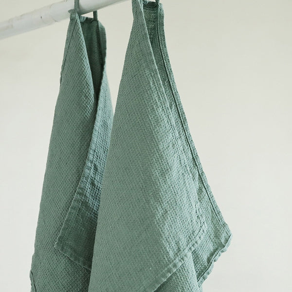 2 Spa Green Pure Linen Waffle Guest Hand Towels Pre-washed