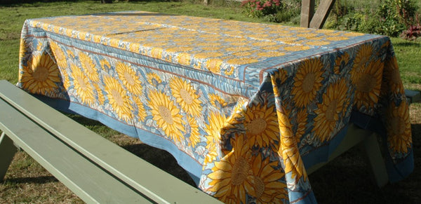 Provence Cotton Handmade Yellow on Blue Sunflowers Tablecloths by Mas d' Ousvan