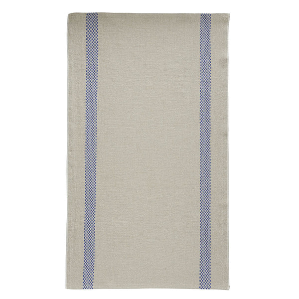 Linen Tea Towel with Checked Stripe Detail 75x44cm