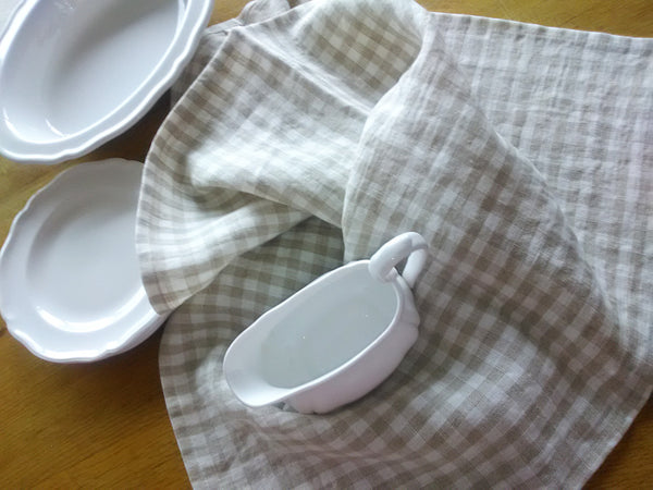 Linen tea towel in natural gingham check