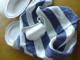 Set of 2 Linen Tea Towels in Red and Blue Stripes With Useful Hanging Loops