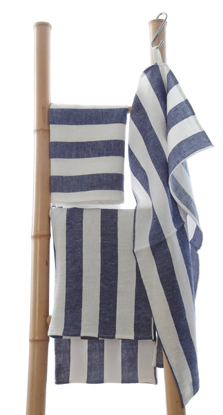 Pure linen tea towels with white and blue  stripe detail