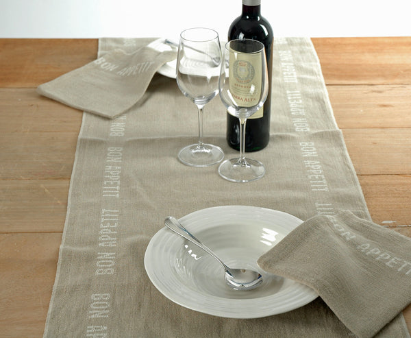 Pure linen table runner with white bon appetit detailing