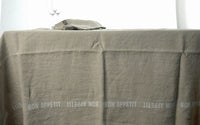 French Heavyweight Linen Tablecloths with Black Bon-Appetit Detail in 4 Sizes
